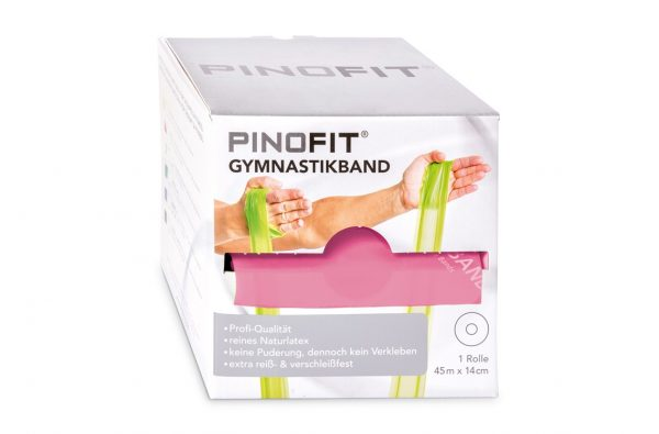 Fitnesa vingrošanas gumija 2,5 m x 14 cm, rozā